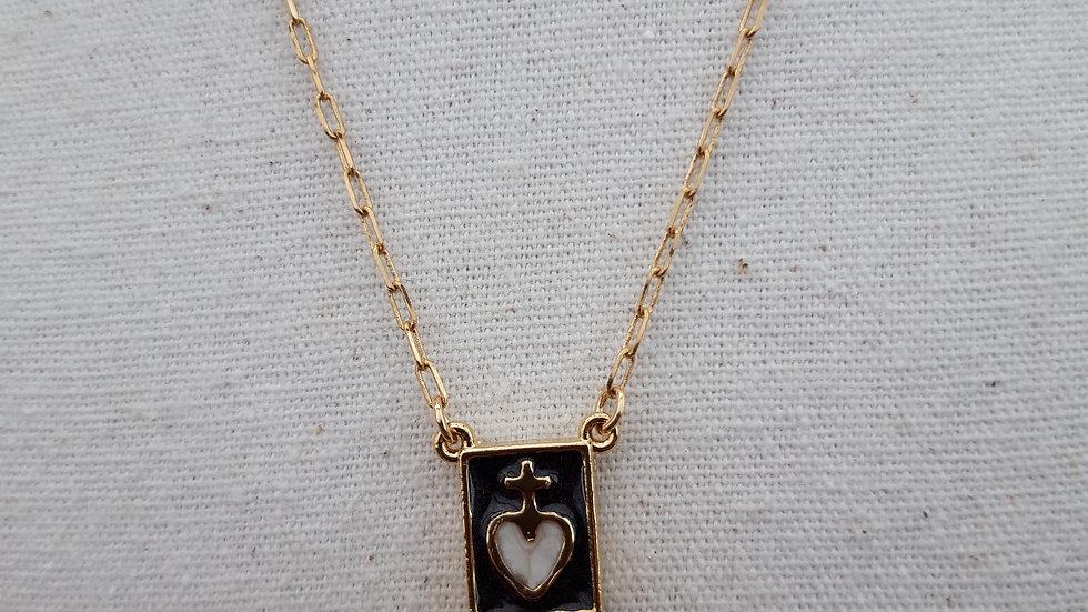 collier exvoto fond noir cœur blanc