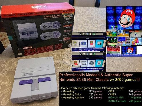 Authentic Super Nintendo SNES Mini w/ 3000+ Games - NES Gameboy GBA + N64