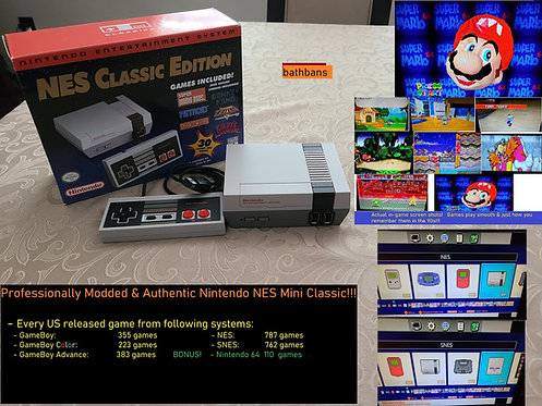 Authentic Nintendo NES Mini w/ 2600+ Games - NES SNES Gameboy GBA + N64
