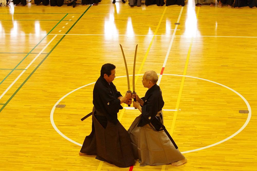 Tachi Uchi no Kurai; (L) Kobara Sensei, (R) Niishima Sensei