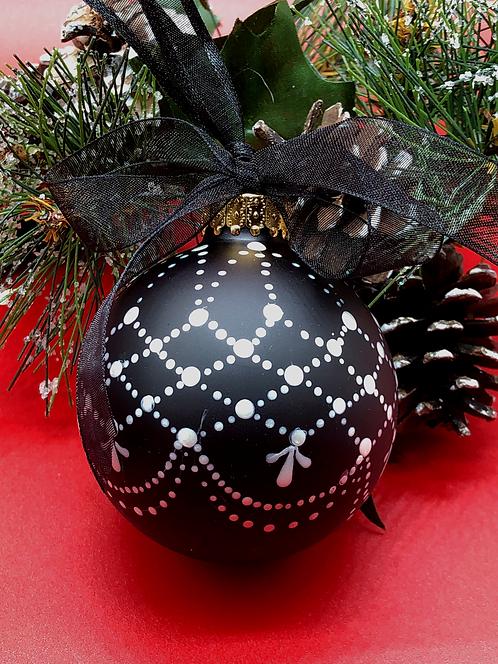 Black Lace Glass Ornament