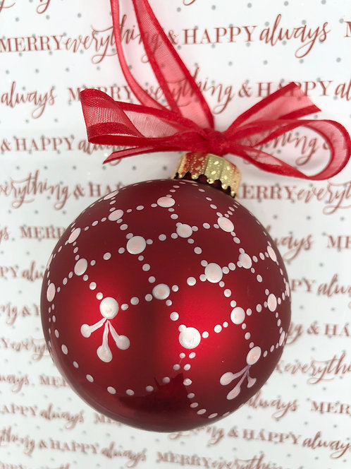 Red Glass Lace Ball Ornament