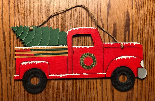 Red Vintage Truck Wall Hanging