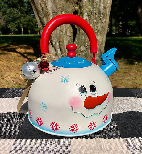 Teal and Red Snowman Tea Pots