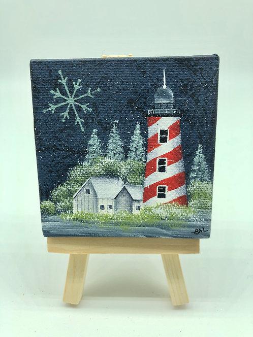 Mini Canvas Winter Lighthouse