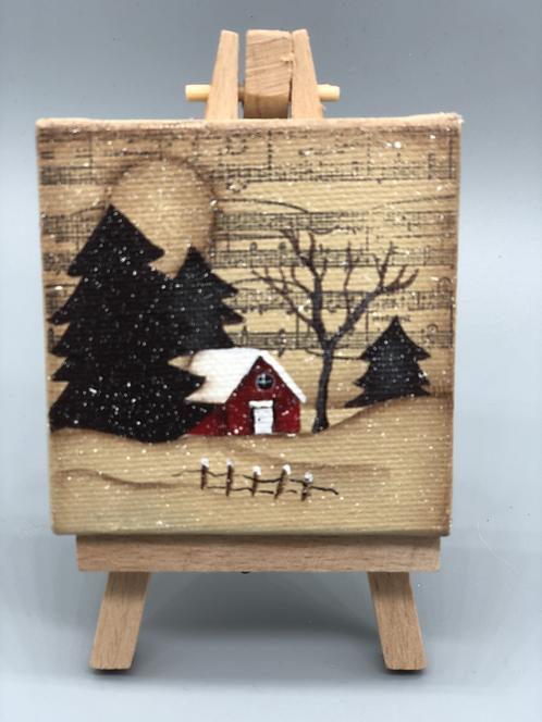 Snowy Winter Night Mini Canvas