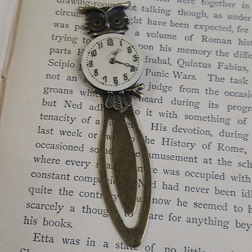 Vintage Watch Face Owl Bookmark