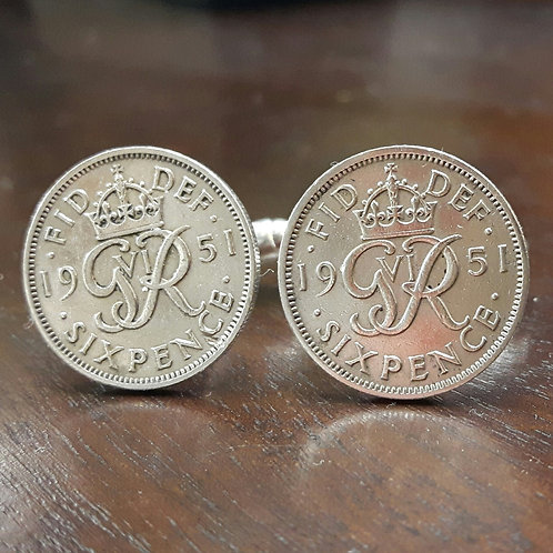Sixpence Coin Cufflinks choose from 1937-1952