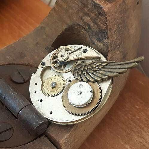 Steampunk Vintage Pocket Watch Brooch