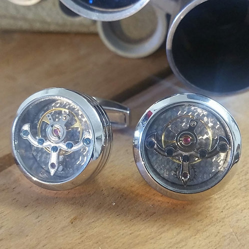Kinetic Moving Watch Part Cufflinks