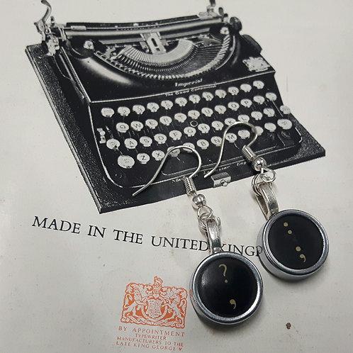 Vintage Typewriter Key Earrings