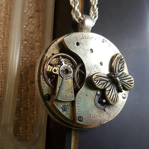 Butterfly Vintage Pocket Watch Pendant