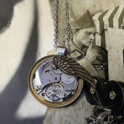 Vintage Rotary Wing Watch Movement  Pendant