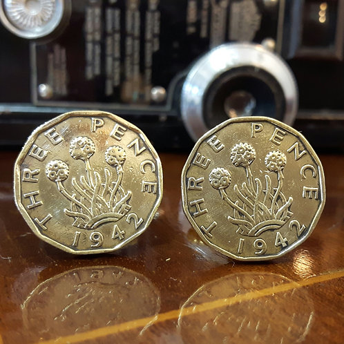 Three Pence Coin Cufflinks choose from 1937-1952
