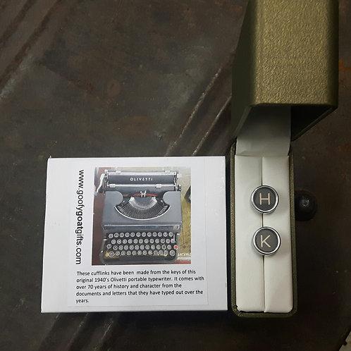 1940s Typewriter Key Cufflinks