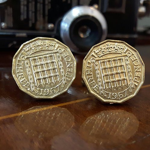 Three Pence Coin Cufflinks choose from 1953-1967