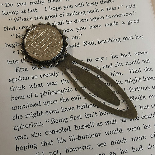 Bookmark with Three Pence Coin
