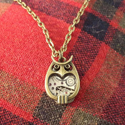 Vintage Watch Owl Pendant