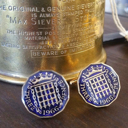 Enamelled Threepence Coin Cufflinks