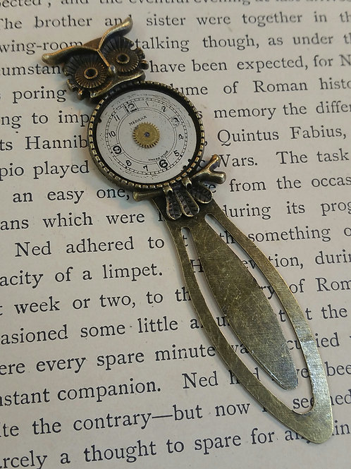 Owl Vintage Watch Face Bookmark
