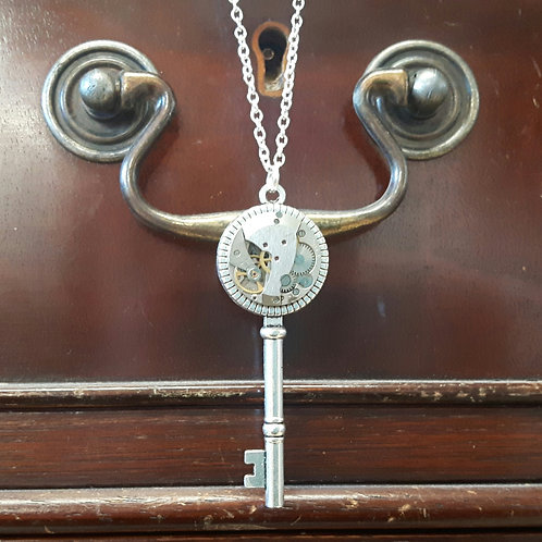 Vintage Watch Movement Key Pendant