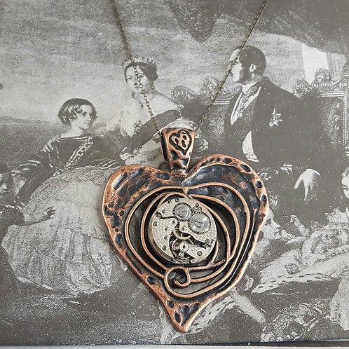 Vintage Watch Large Heart Pendant
