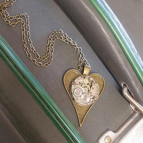 Vintage watch movement heart pendant