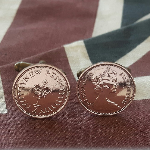 British Half Pence Coin Cufflinks choose dates from 1971 - 1984
