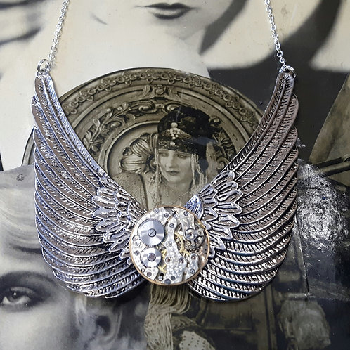 Angel Wing Vintage Watch Movement Necklace