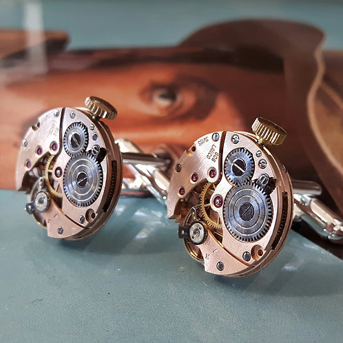 Vintage Lanco Watch Movement Cufflinks