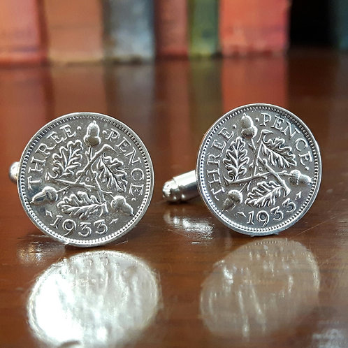 Three Pence Coin Cufflinks choose from 1927 - 1936