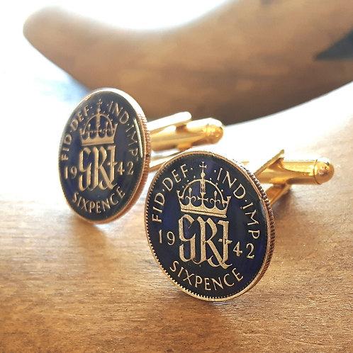 Enamel Sixpence Coin Cufflinks