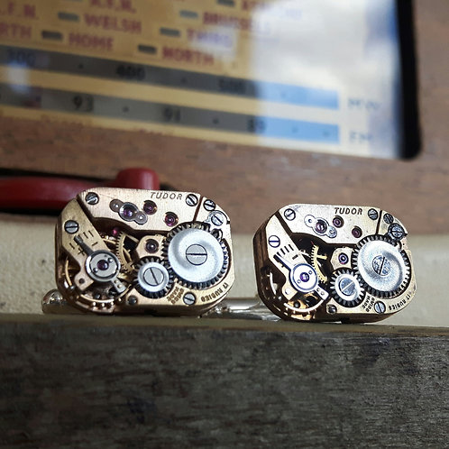 Vintage Rolex Tudor Watch Cufflinks