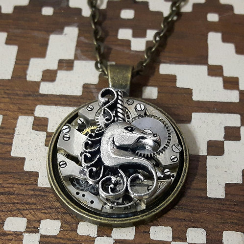 Vintage Watch Movement Unicorn Pendant