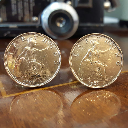 Farthing Coin Cufflinks choose dates from 1911 - 1936
