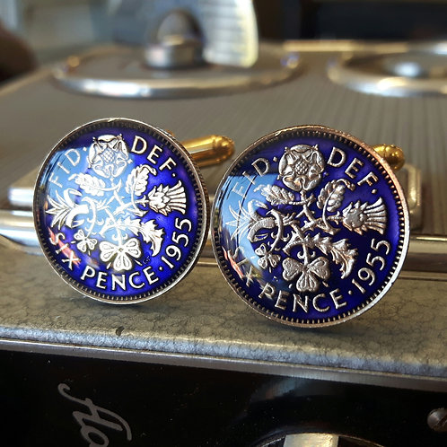 Enamelled Sixpence Coin Cufflinks