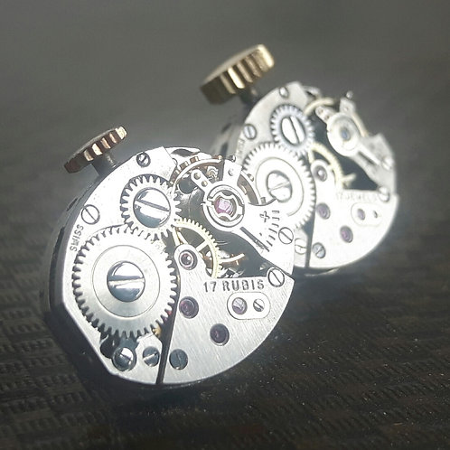 Vintage Watch Stud Earrings