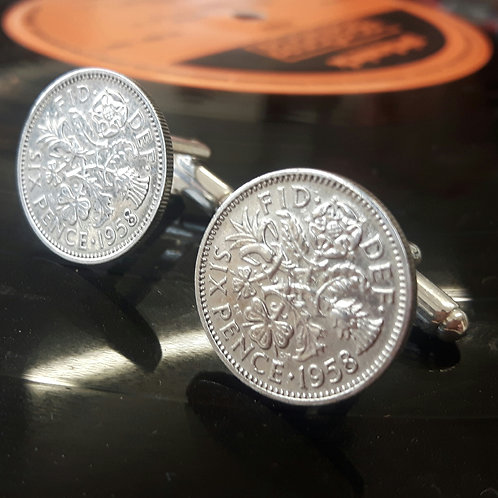 Sixpence Coin Cufflinks choose from 1953 - 1967