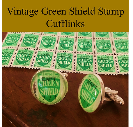 green shield stamp cufflinks