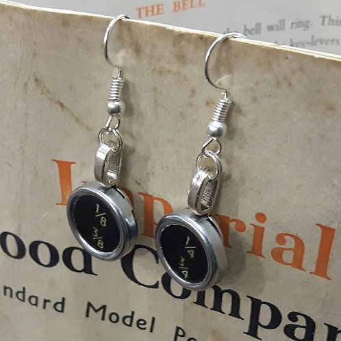 Vintage Typewriter Key Earrings