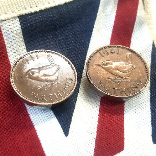 British 1941 Farthing Coin Button Covers