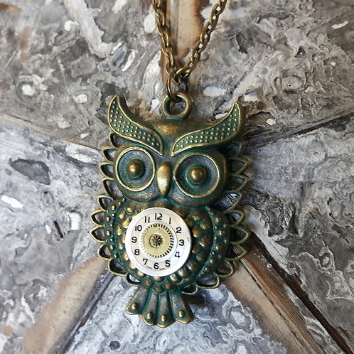 Owl Vintage Watch Face Pendant