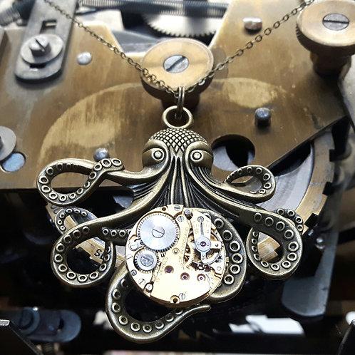 Steampunk Octopus Watch Movement Pendant