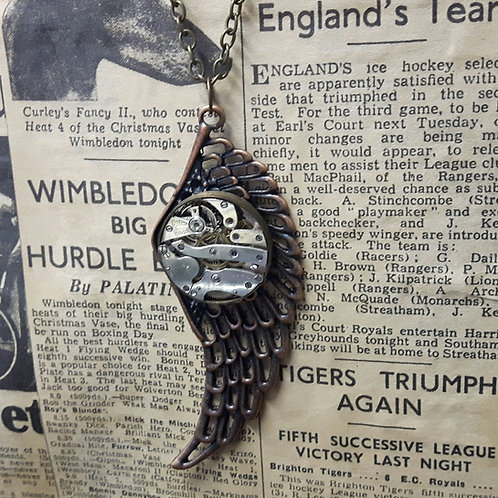 Steampunk Wing Vintage Watch Movement Pendant