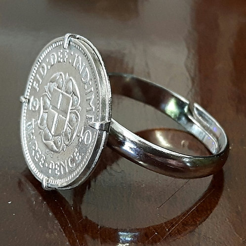 1940 Three Pence Coin Ring