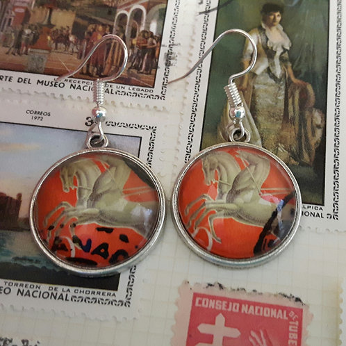 Vintage Spanish Stamp Earrings