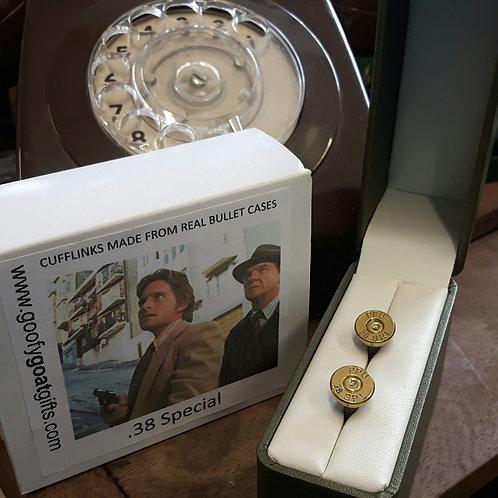 Winchester 38 special brass bullet cufflinks