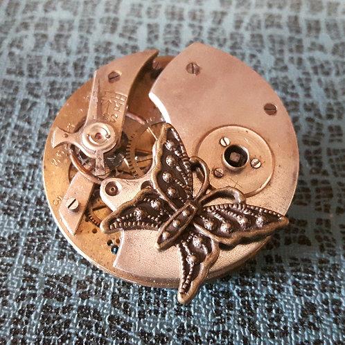 Vintage Pocket Watch Butterfly Brooch