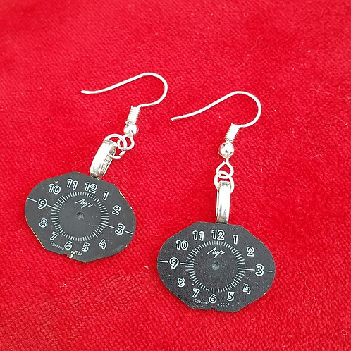 Black vintage watch face earrings