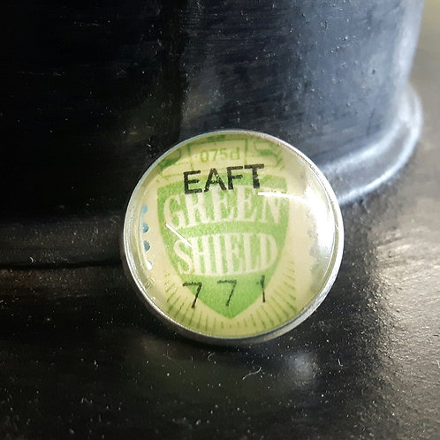 Vintage Green Shield Stamp Lapel Pin